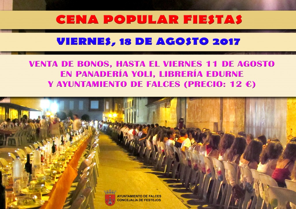 cena popular cartel venta bonos 2017